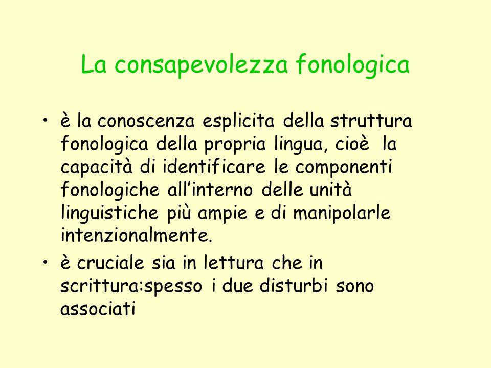 La consapevolezza fonologica è la conoscenza esplicita della struttura fonologica della propria lingua, cioè la capacità di identificare le componenti