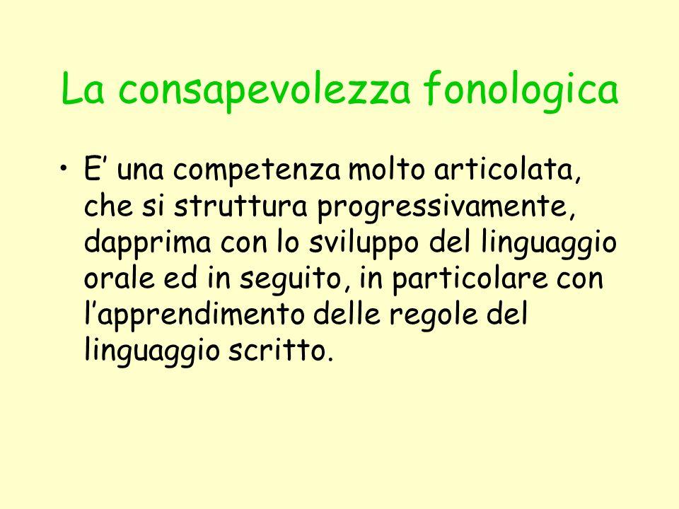 La consapevolezza fonologica E una competenza molto articolata, che si struttura progressivamente, dapprima con lo sviluppo del linguaggio orale ed in