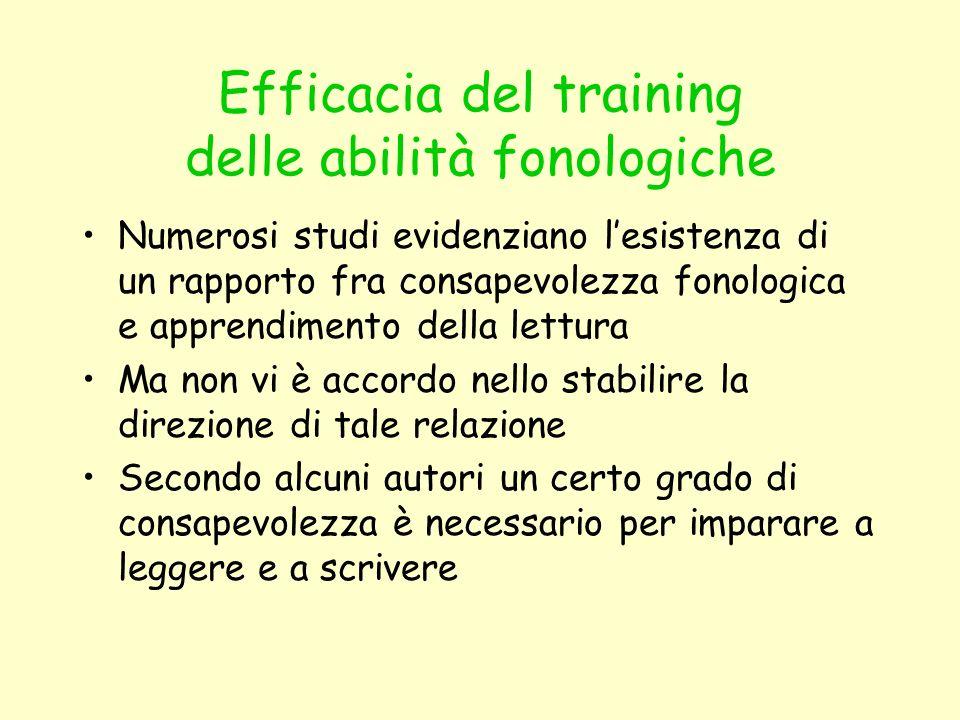 Efficacia del training delle abilità fonologiche Numerosi studi evidenziano lesistenza di un rapporto fra consapevolezza fonologica e apprendimento de