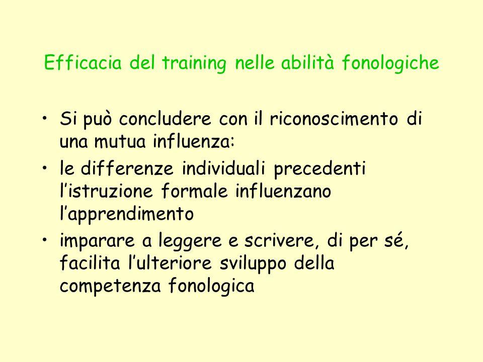 Efficacia del training nelle abilità fonologiche Si può concludere con il riconoscimento di una mutua influenza: le differenze individuali precedenti