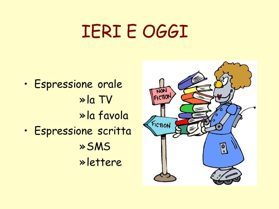 Espressione orale »la TV »la favola Espressione scritta »SMS »lettere IERI E OGGI