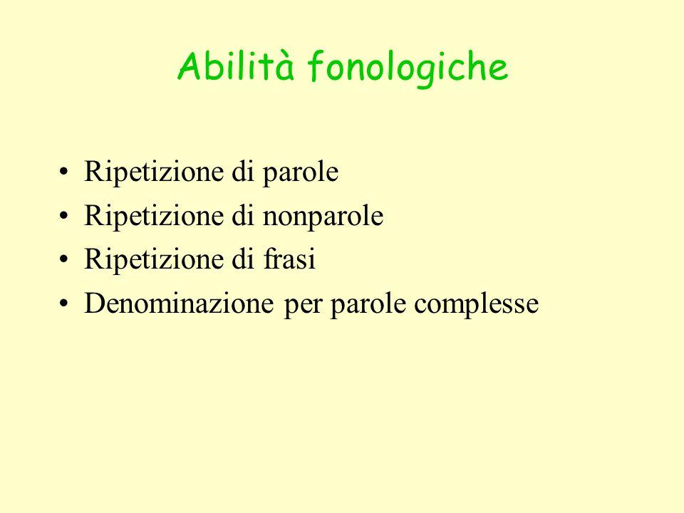 Abilità fonologiche Ripetizione di parole Ripetizione di nonparole Ripetizione di frasi Denominazione per parole complesse