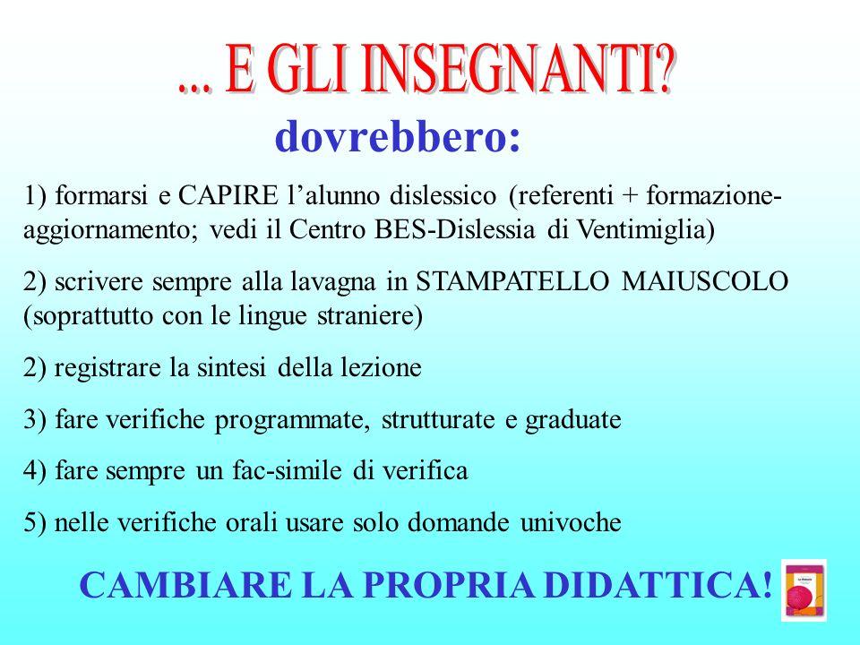 dovrebbero: 1) formarsi e CAPIRE lalunno dislessico (referenti + formazione- aggiornamento; vedi il Centro BES-Dislessia di Ventimiglia) 2) scrivere s