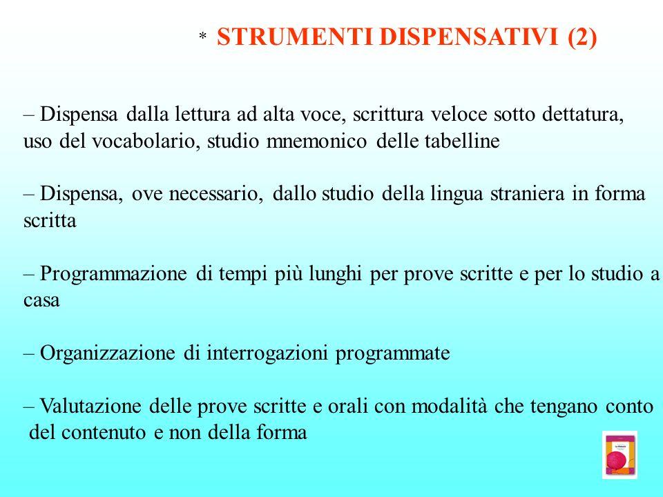 * STRUMENTI DISPENSATIVI (2) – Dispensa dalla lettura ad alta voce, scrittura veloce sotto dettatura, uso del vocabolario, studio mnemonico delle tabe