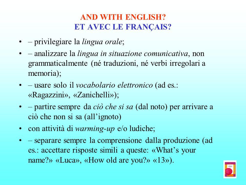 AND WITH ENGLISH? ET AVEC LE FRANÇAIS? – privilegiare la lingua orale; – analizzare la lingua in situazione comunicativa, non grammaticalmente (né tra