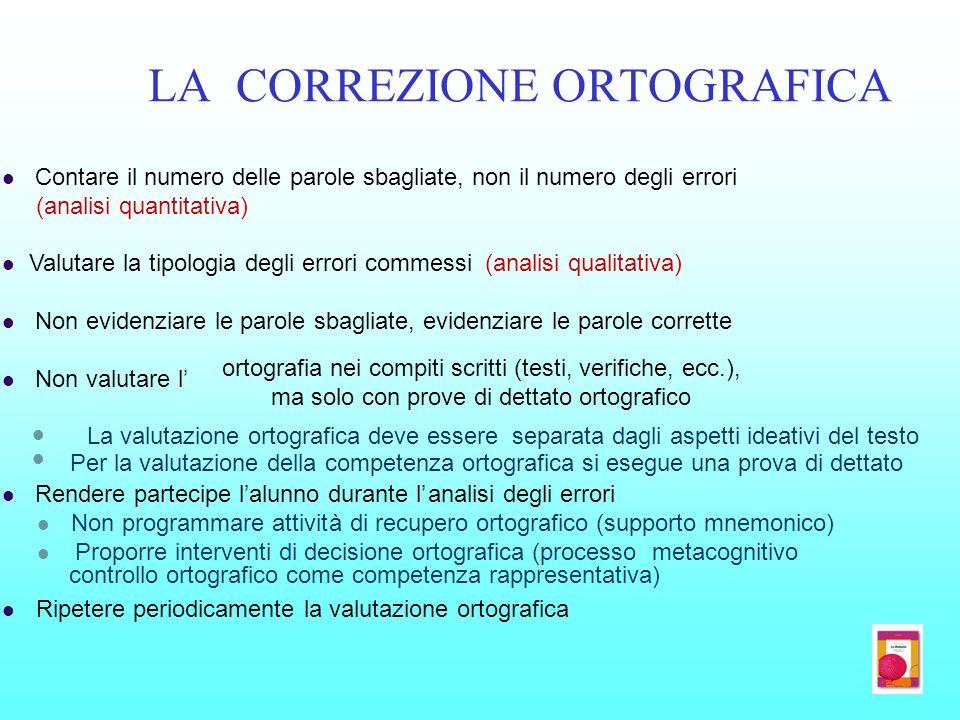 LA CORREZIONE ORTOGRAFICA Contare il numero delle parole sbagliate, non il numero degli errori (analisi quantitativa) Valutare la tipologia degli erro