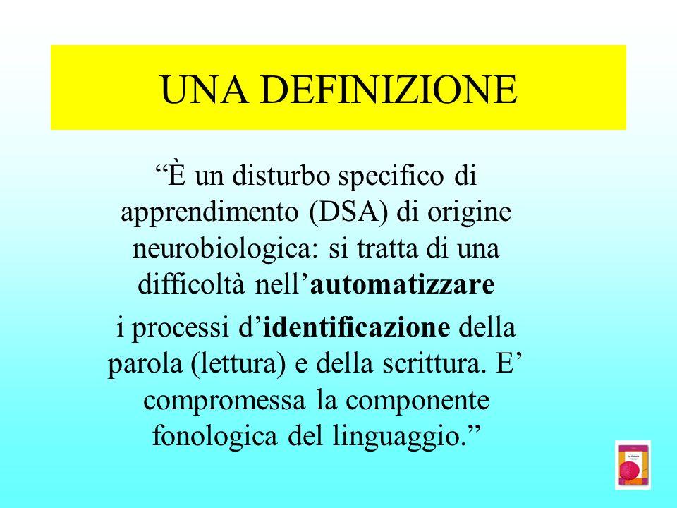 UNA DEFINIZIONE È un disturbo specifico di apprendimento (DSA) di origine neurobiologica: si tratta di una difficoltà nellautomatizzare i processi did
