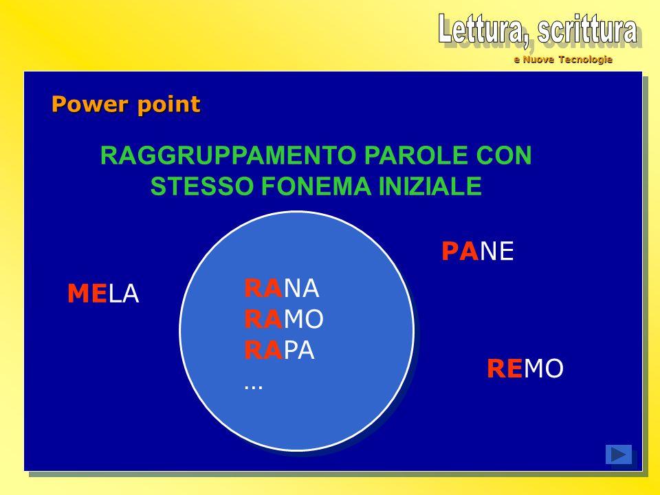 e Nuove Tecnologie Power point RANA RAMO RAPA … RAGGRUPPAMENTO PAROLE CON STESSO FONEMA INIZIALE PANE MELA REMO