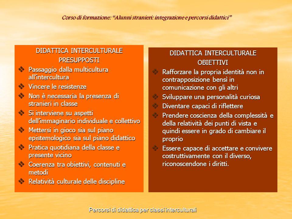 Corso di formazione: Alunni stranieri: integrazione e percorsi didattici DIDATTICA INTERCULTURALE PRESUPPOSTI Passaggio dalla multicultura allintercul