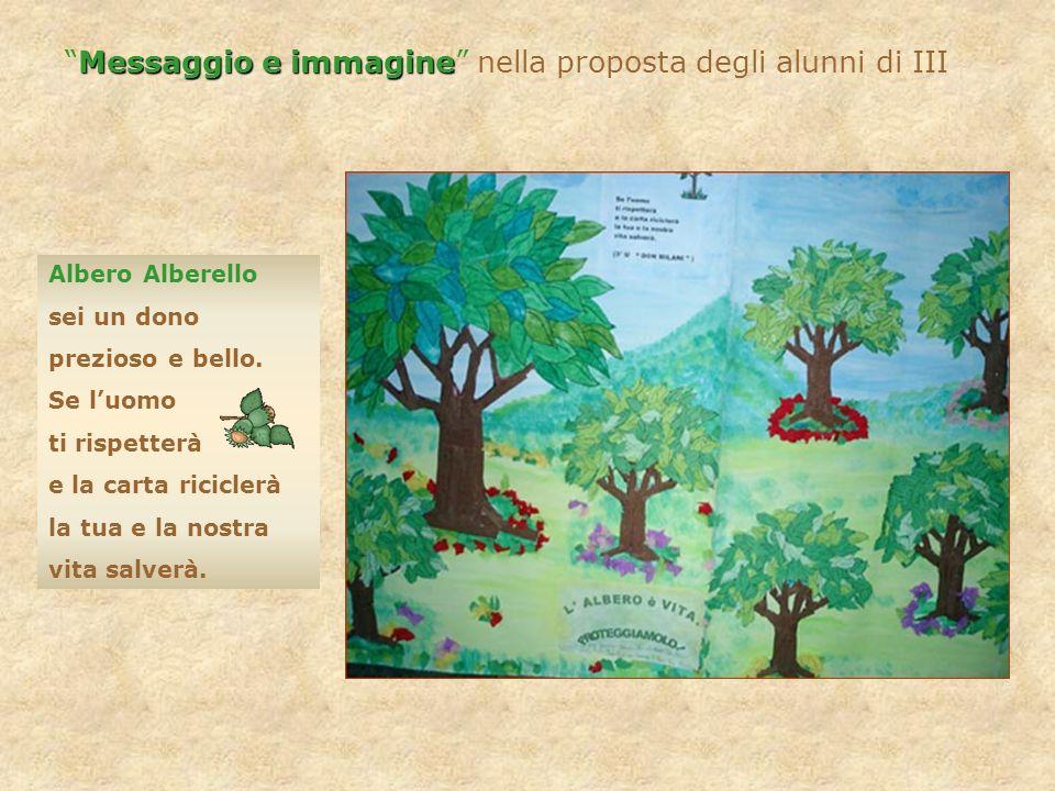 Messaggio e immagine nella proposta degli alunni di III Albero Alberello sei un dono prezioso e bello. Se luomo ti rispetterà e la carta riciclerà la