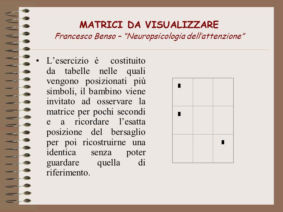 MATRICI DA VISUALIZZARE Francesco Benso – Neuropsicologia dellattenzione Lesercizio è costituito da tabelle nelle quali vengono posizionati più simbol