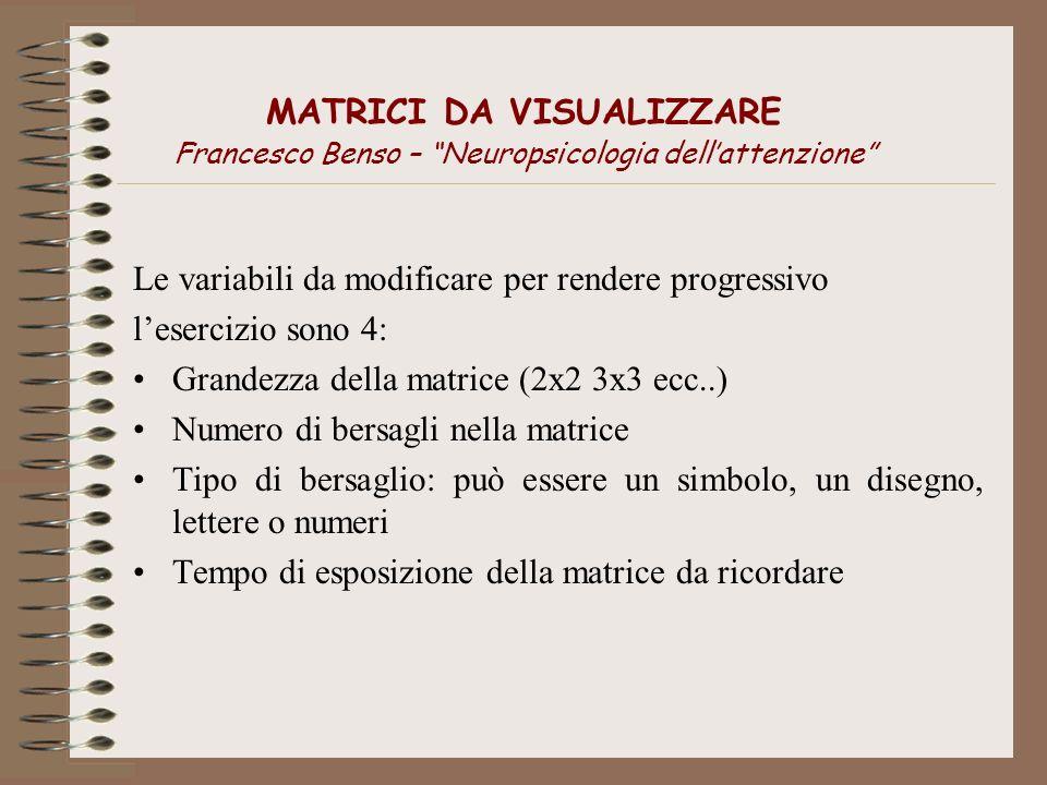 MATRICI DA VISUALIZZARE Francesco Benso – Neuropsicologia dellattenzione Le variabili da modificare per rendere progressivo lesercizio sono 4: Grandez