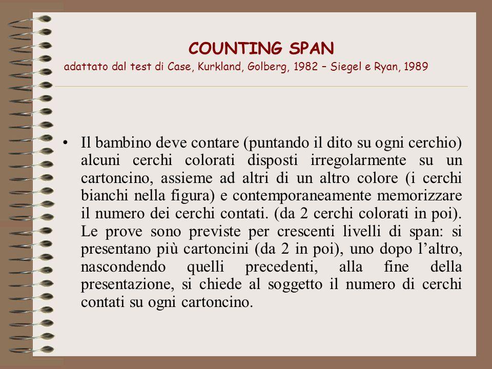 COUNTING SPAN adattato dal test di Case, Kurkland, Golberg, 1982 – Siegel e Ryan, 1989 Il bambino deve contare (puntando il dito su ogni cerchio) alcu