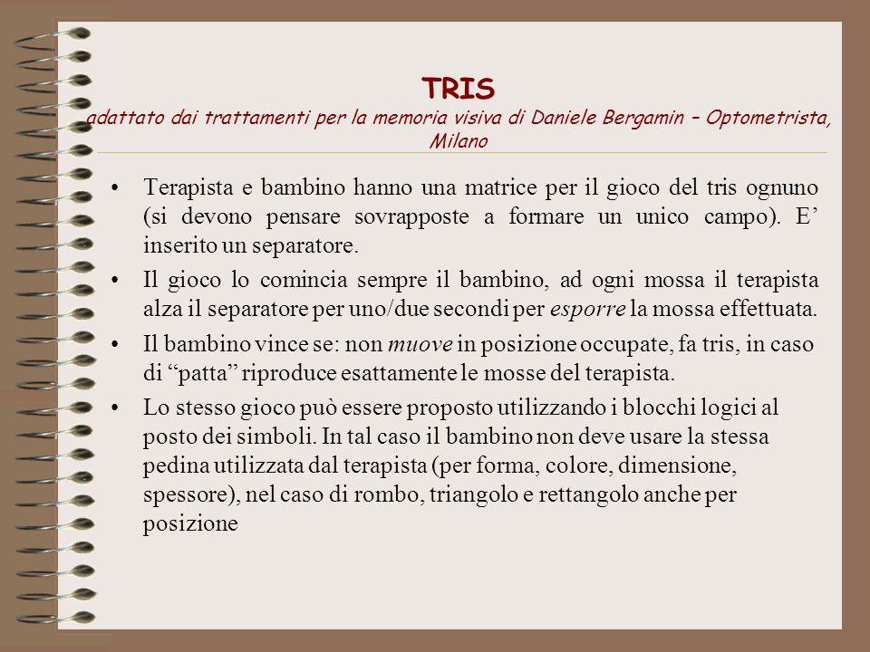 TRIS adattato dai trattamenti per la memoria visiva di Daniele Bergamin – Optometrista, Milano Terapista e bambino hanno una matrice per il gioco del