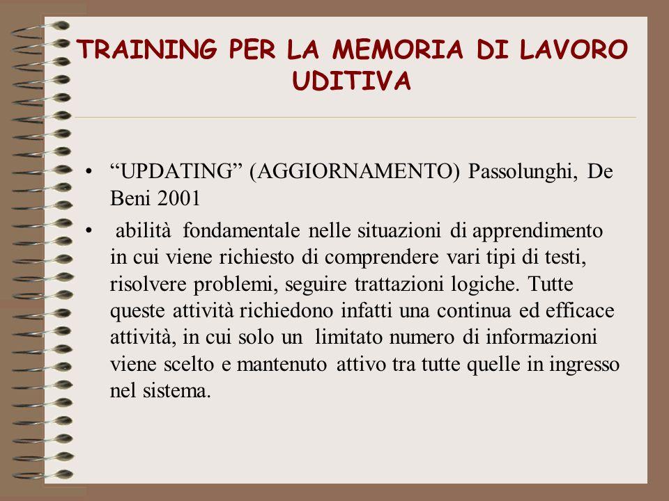TRAINING PER LA MEMORIA DI LAVORO UDITIVA UPDATING (AGGIORNAMENTO) Passolunghi, De Beni 2001 abilità fondamentale nelle situazioni di apprendimento in