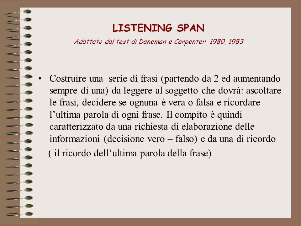 LISTENING SPAN Adattato dal test di Daneman e Carpenter 1980, 1983 Costruire una serie di frasi (partendo da 2 ed aumentando sempre di una) da leggere