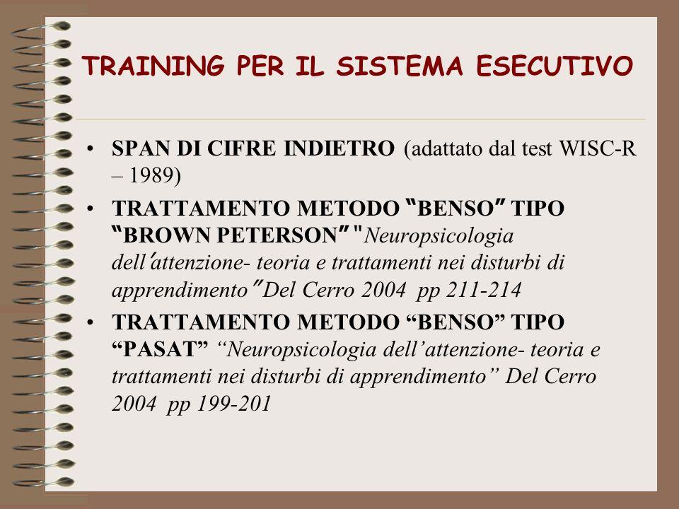 TRAINING PER IL SISTEMA ESECUTIVO SPAN DI CIFRE INDIETRO (adattato dal test WISC-R – 1989) TRATTAMENTO METODO BENSO TIPO BROWN PETERSON Neuropsicologi