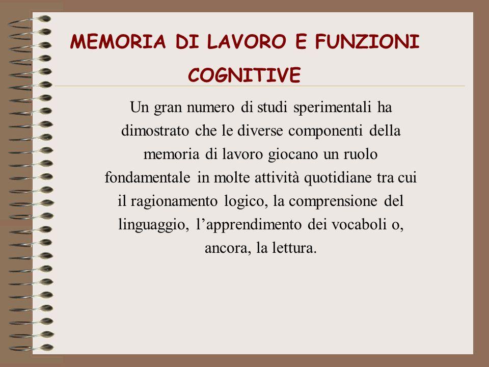 MEMORIA DI LAVORO E FUNZIONI COGNITIVE Un gran numero di studi sperimentali ha dimostrato che le diverse componenti della memoria di lavoro giocano un