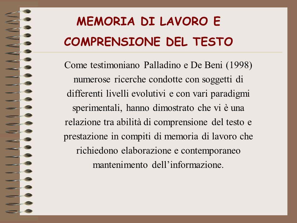 MEMORIA DI LAVORO E COMPRENSIONE DEL TESTO Come testimoniano Palladino e De Beni (1998) numerose ricerche condotte con soggetti di differenti livelli