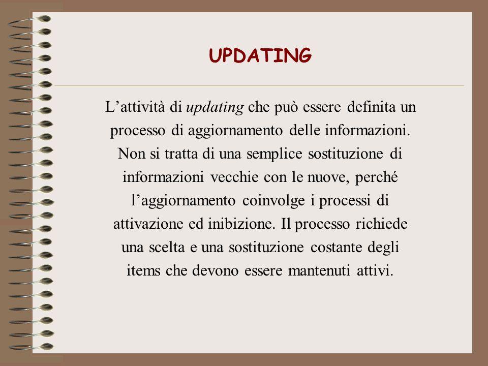 UPDATING Lattività di updating che può essere definita un processo di aggiornamento delle informazioni. Non si tratta di una semplice sostituzione di