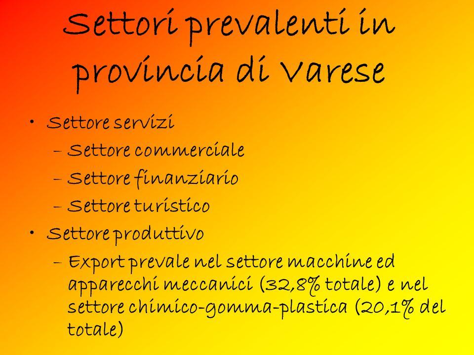Settori prevalenti in provincia di Varese Settore servizi –Settore commerciale –Settore finanziario –Settore turistico Settore produttivo –Export prevale nel settore macchine ed apparecchi meccanici (32,8% totale) e nel settore chimico-gomma-plastica (20,1% del totale)