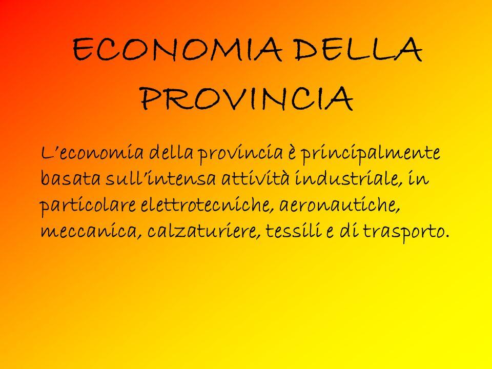 ECONOMIA DELLA PROVINCIA Leconomia della provincia è principalmente basata sullintensa attività industriale, in particolare elettrotecniche, aeronautiche, meccanica, calzaturiere, tessili e di trasporto.