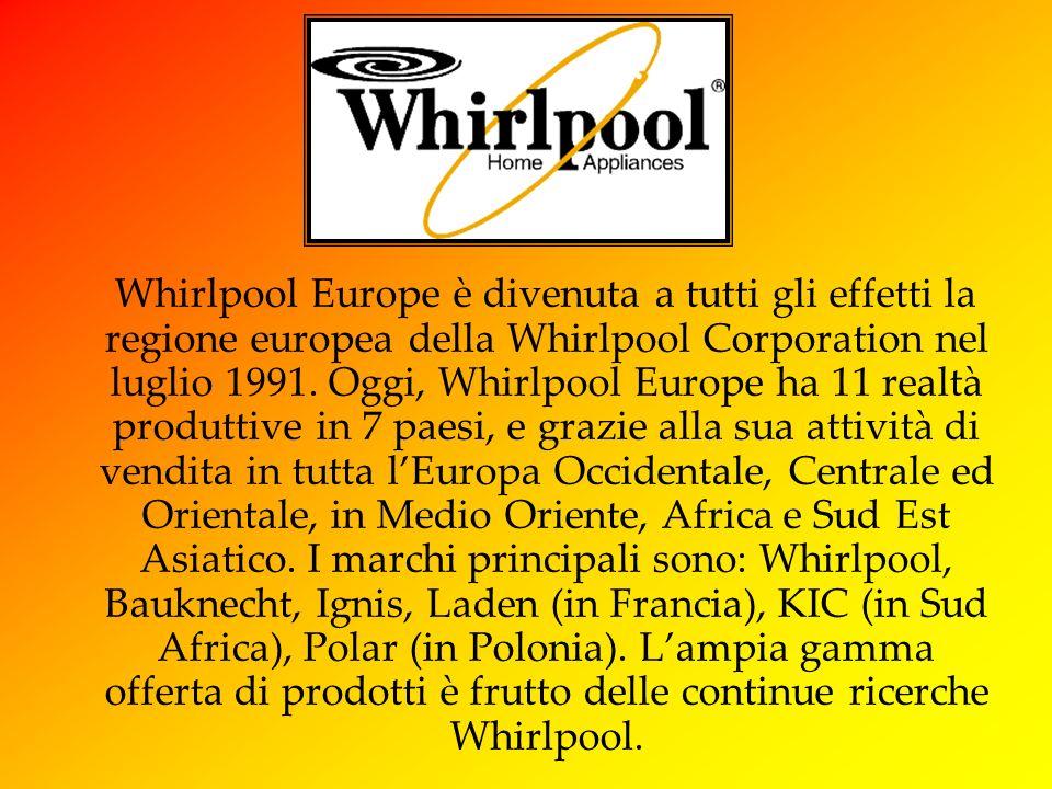 Whirlpool Europe è divenuta a tutti gli effetti la regione europea della Whirlpool Corporation nel luglio 1991.