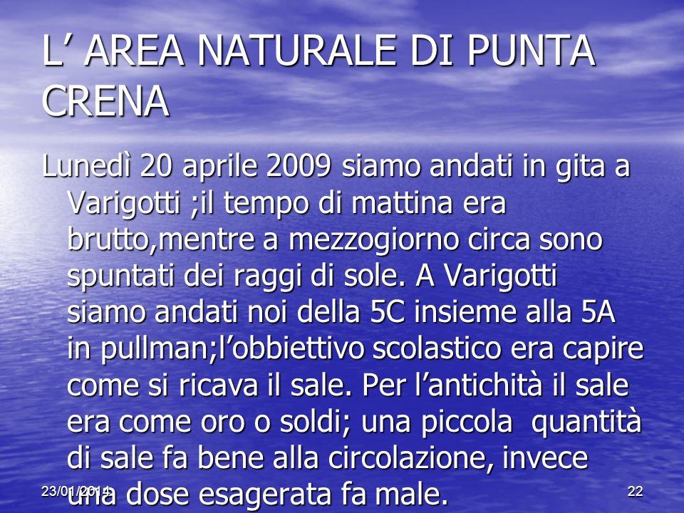 L AREA NATURALE DI PUNTA CRENA Lunedì 20 aprile 2009 siamo andati in gita a Varigotti ;il tempo di mattina era brutto,mentre a mezzogiorno circa sono