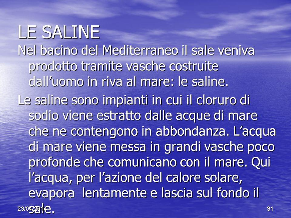 LE SALINE Nel bacino del Mediterraneo il sale veniva prodotto tramite vasche costruite dalluomo in riva al mare: le saline. Le saline sono impianti in