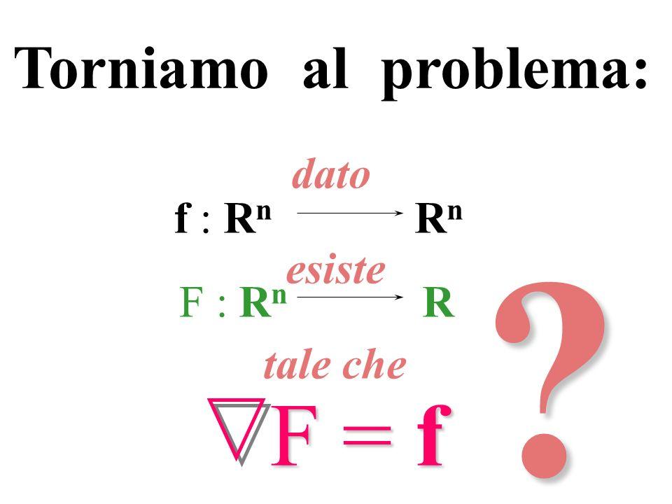 f : R n R n dato esiste F : R n R F = f tale che? Torniamo al problema: