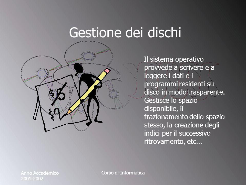 Anno Accademico 2001-2002 Corso di Informatica Gestione dei dischi Il sistema operativo provvede a scrivere e a leggere i dati e i programmi residenti su disco in modo trasparente.