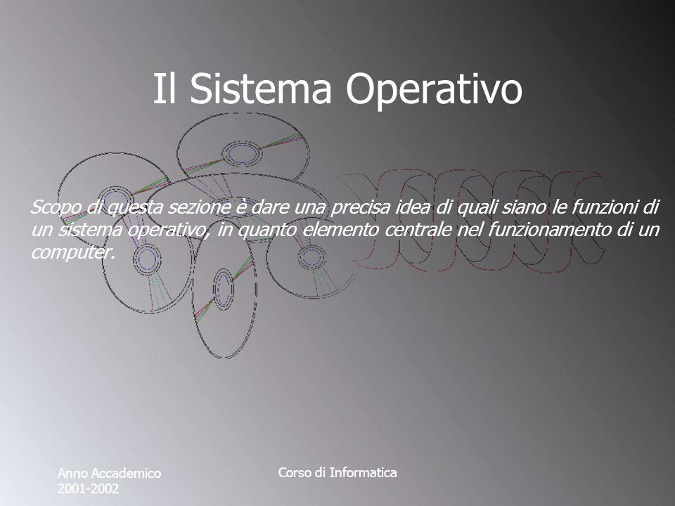 Anno Accademico 2001-2002 Corso di Informatica Il Sistema Operativo Scopo di questa sezione è dare una precisa idea di quali siano le funzioni di un sistema operativo, in quanto elemento centrale nel funzionamento di un computer.