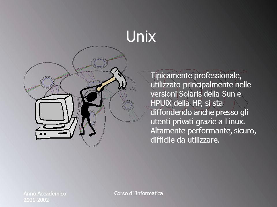 Anno Accademico 2001-2002 Corso di Informatica Unix Tipicamente professionale, utilizzato principalmente nelle versioni Solaris della Sun e HPUiX della HP, si sta diffondendo anche presso gli utenti privati grazie a Linux.