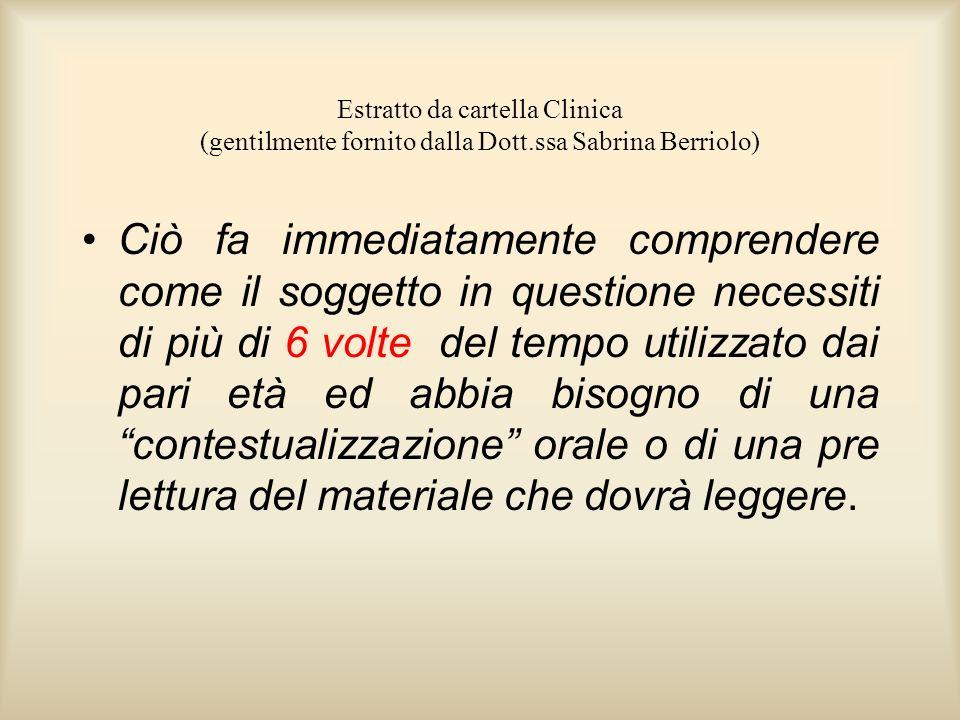 Estratto da cartella Clinica (gentilmente fornito dalla Dott.ssa Sabrina Berriolo) Ciò fa immediatamente comprendere come il soggetto in questione nec