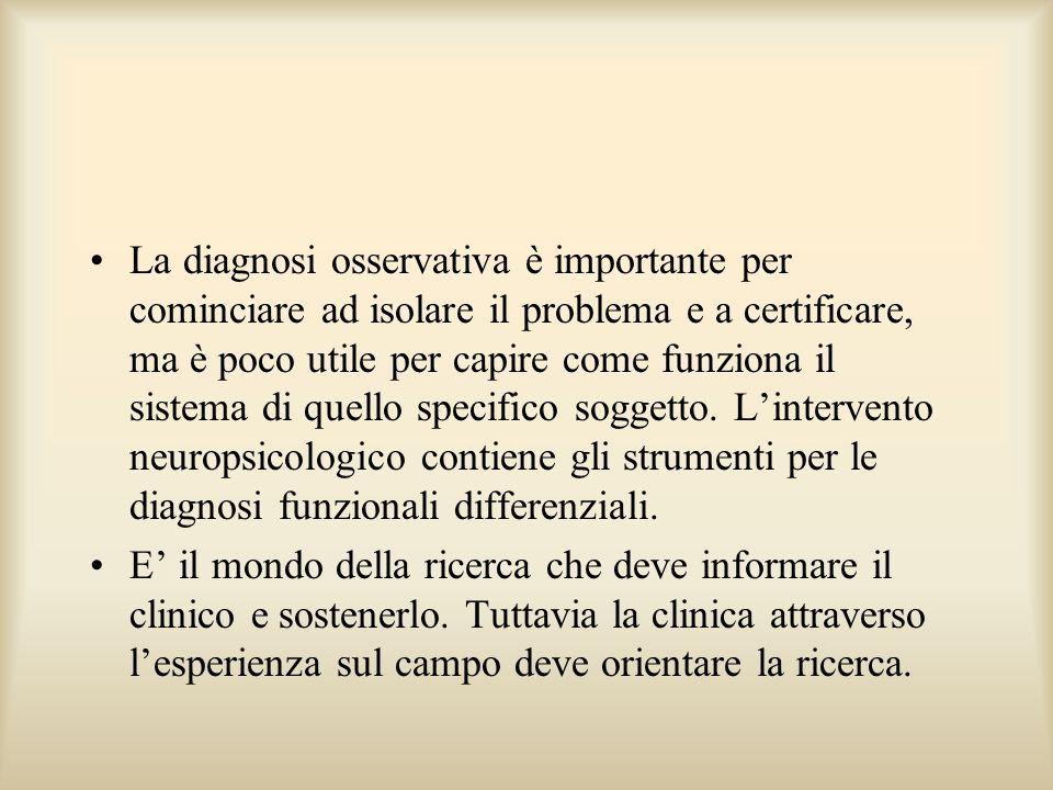 La diagnosi osservativa è importante per cominciare ad isolare il problema e a certificare, ma è poco utile per capire come funziona il sistema di que