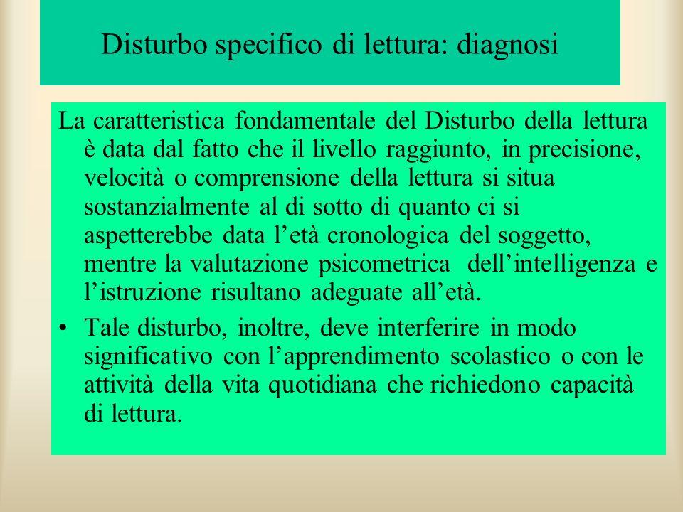 Diagnosi criteri di inclusione Essi sono: Livello di lettura di due deviazioni standard inferiore alla media Quoziente intellettivo (QI) nella norma,