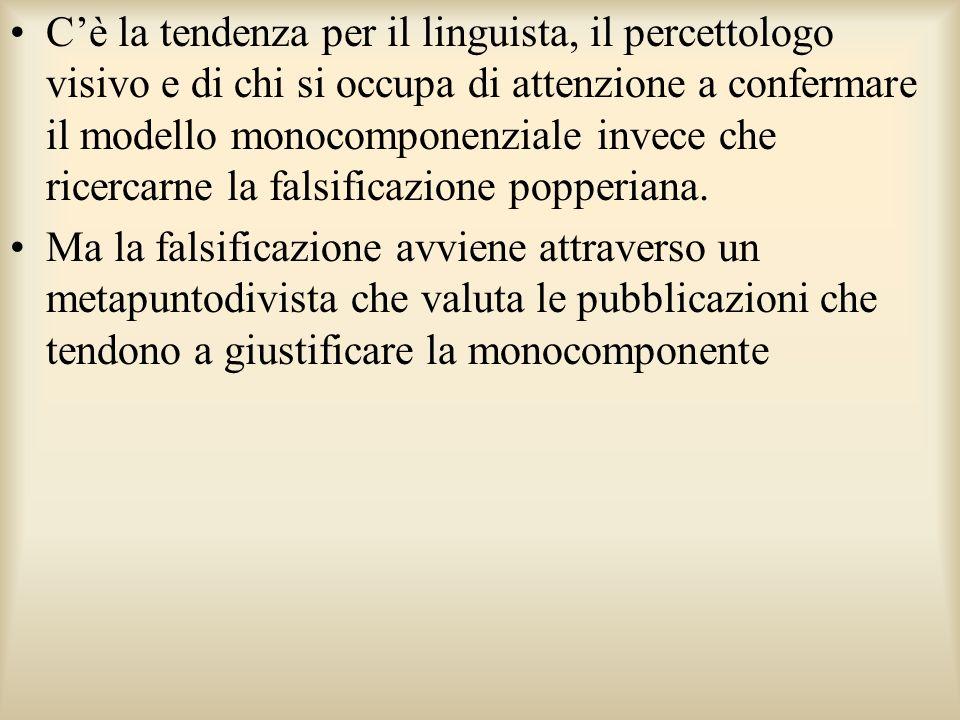Cè la tendenza per il linguista, il percettologo visivo e di chi si occupa di attenzione a confermare il modello monocomponenziale invece che ricercar