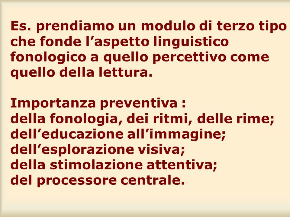 Es. prendiamo un modulo di terzo tipo che fonde laspetto linguistico fonologico a quello percettivo come quello della lettura. Importanza preventiva :