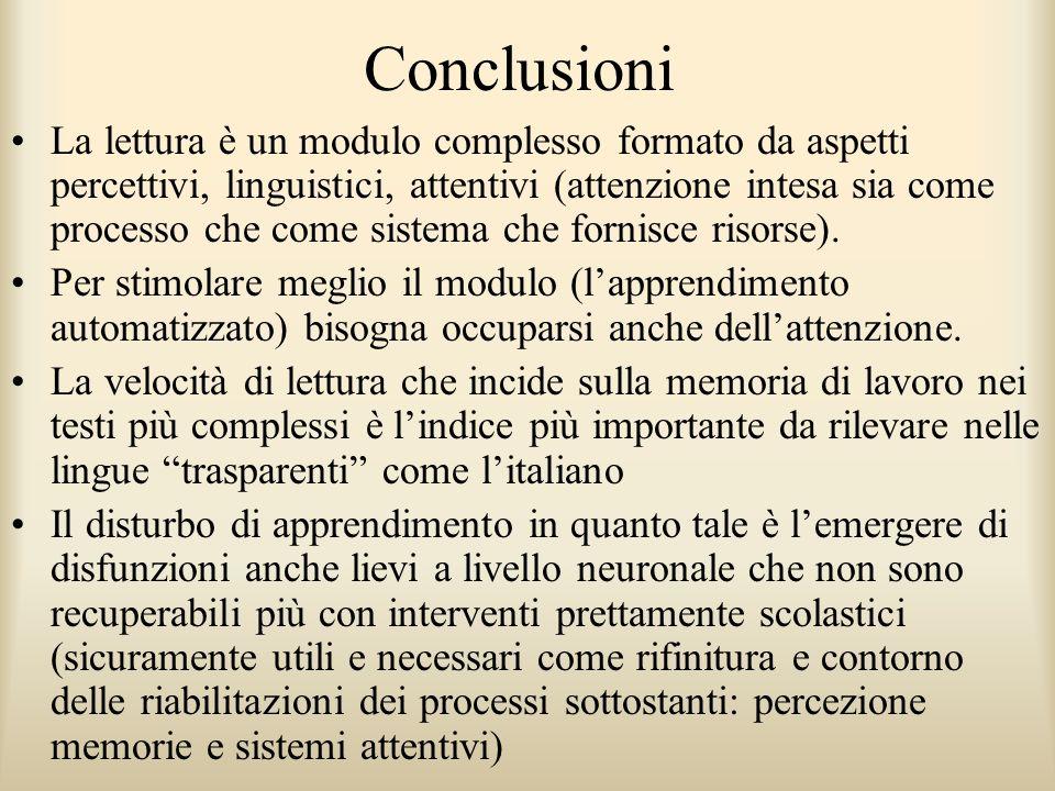 Conclusioni La lettura è un modulo complesso formato da aspetti percettivi, linguistici, attentivi (attenzione intesa sia come processo che come siste