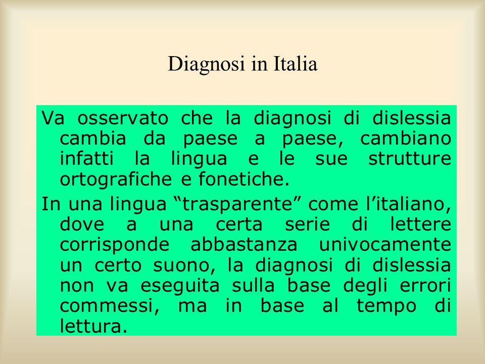 Diagnosi in Italia Recenti osservazioni di Wimmer (1993) con bambini austriaci, di Stella (2000), di Stella, di Blasi, Giorgetti e Savelli, (2003) e di Tressoldi (1998) con bambini italiani, hanno confermato limportanza critica della verifica dei tempi per la diagnosi dei disturbi di lettura.