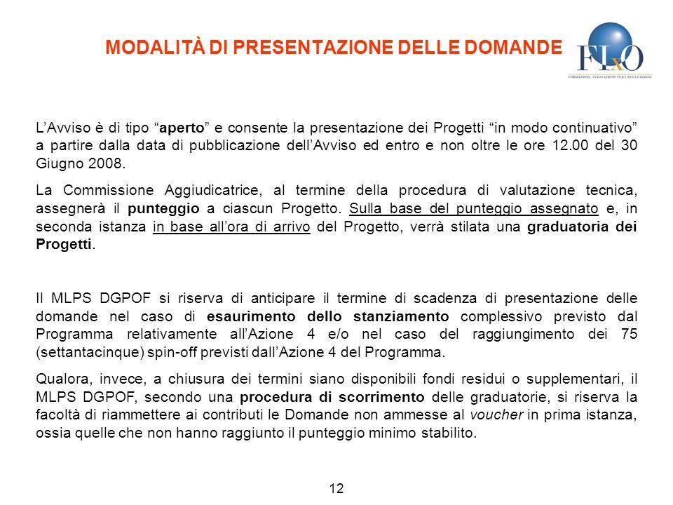 MODALITÀ DI PRESENTAZIONE DELLE DOMANDE 12 LAvviso è di tipo aperto e consente la presentazione dei Progetti in modo continuativo a partire dalla data di pubblicazione dellAvviso ed entro e non oltre le ore 12.00 del 30 Giugno 2008.