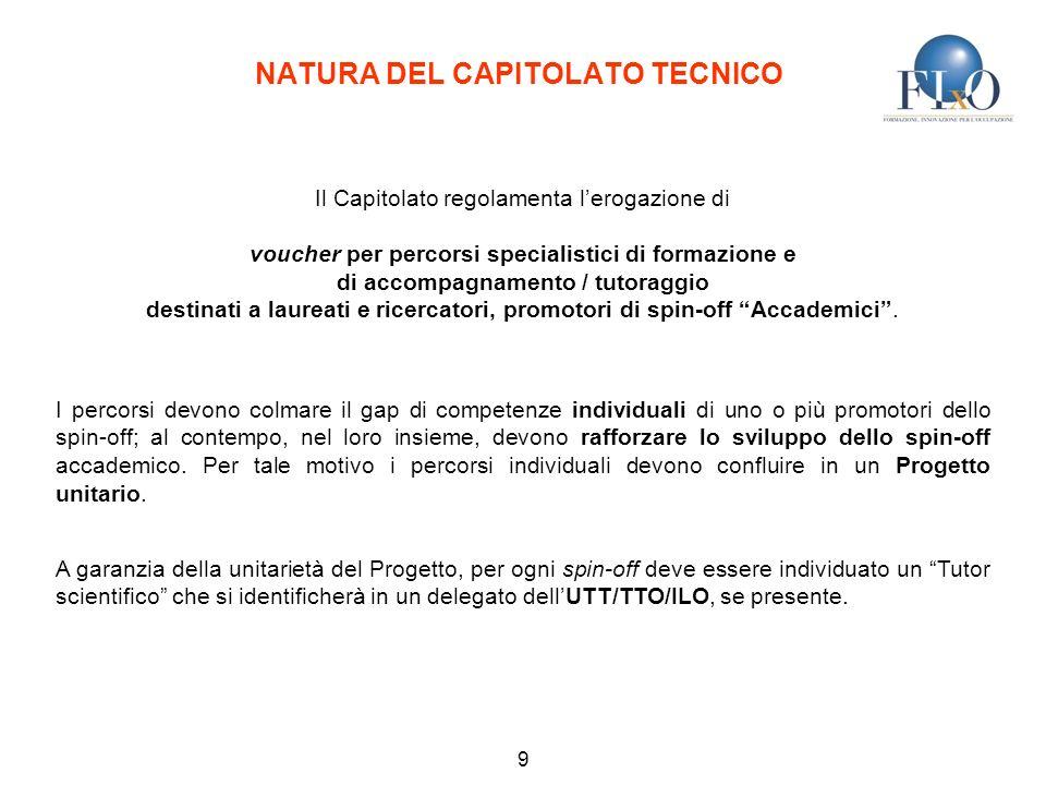 NATURA DEL CAPITOLATO TECNICO 9 Il Capitolato regolamenta lerogazione di voucher per percorsi specialistici di formazione e di accompagnamento / tutoraggio destinati a laureati e ricercatori, promotori di spin-off Accademici.