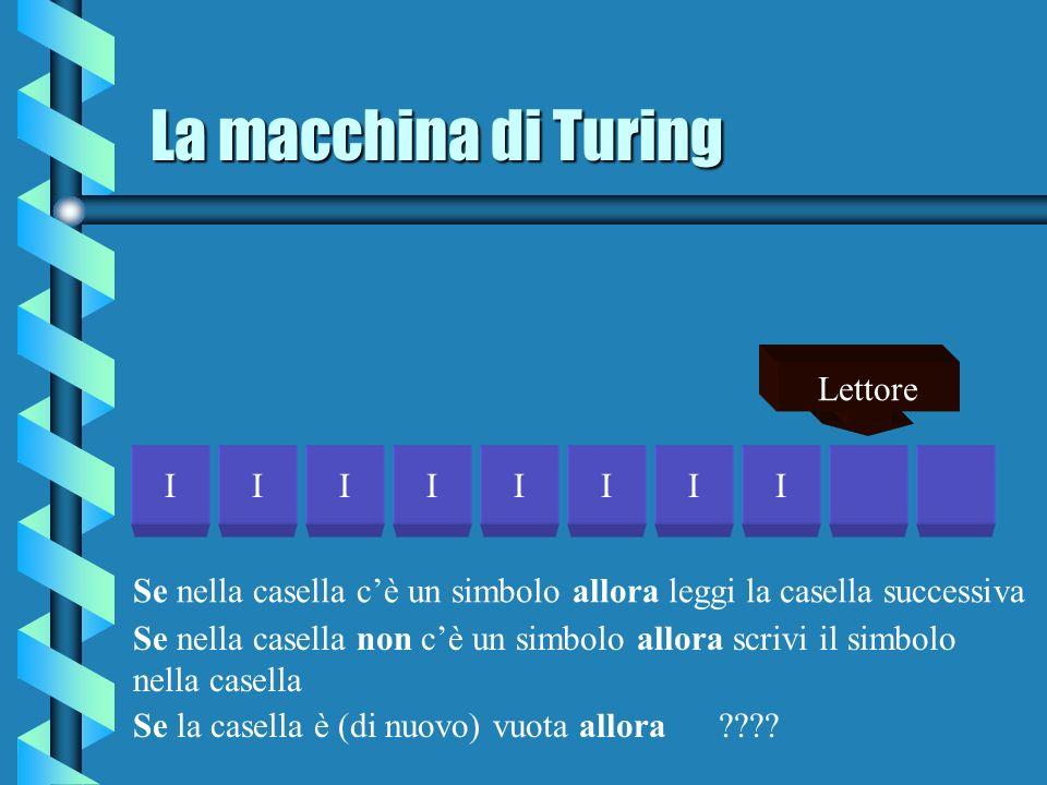 La macchina di Turing IIIIIIII Lettore Se nella casella cè un simbolo allora leggi la casella successiva Se la casella è (di nuovo) vuota allora ????