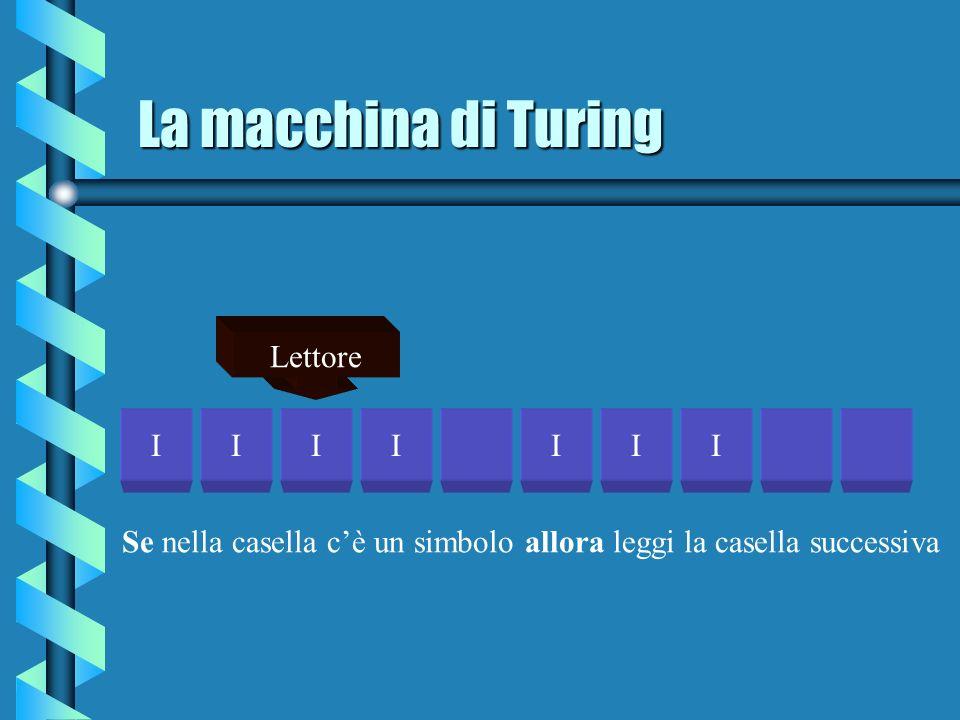 La macchina di Turing IIIIIII Lettore Se nella casella cè un simbolo allora leggi la casella successiva