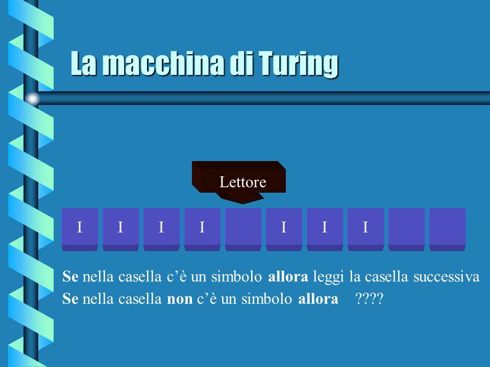 La macchina di Turing IIIIIII Lettore Se nella casella cè un simbolo allora leggi la casella successiva Se nella casella non cè un simbolo allora ????