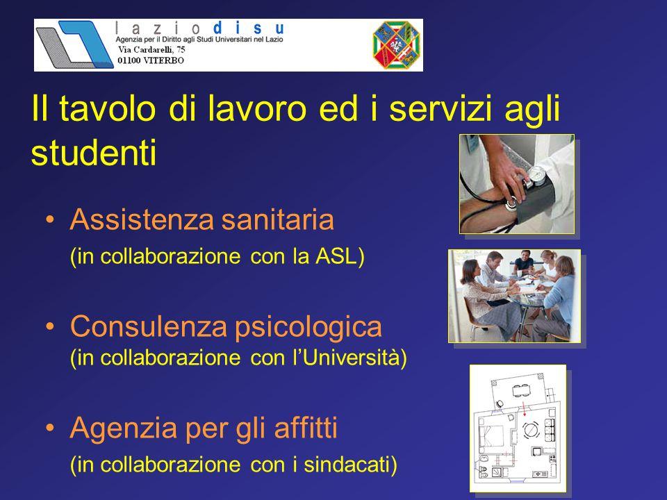 Assistenza sanitaria (in collaborazione con la ASL) Consulenza psicologica (in collaborazione con lUniversità) Agenzia per gli affitti (in collaborazione con i sindacati) Il tavolo di lavoro ed i servizi agli studenti