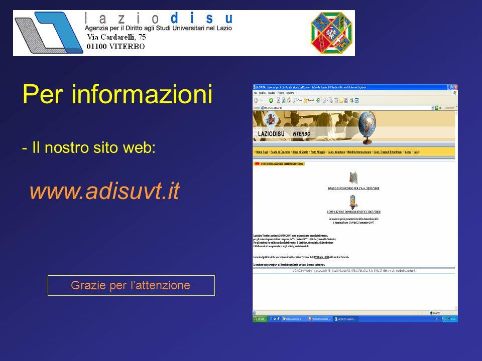 - Il nostro sito web: www.adisuvt.it Grazie per lattenzione