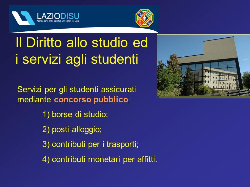 Il Diritto allo studio ed i servizi agli studenti Servizi per gli studenti assicurati mediante concorso pubblico : 1) borse di studio; 2) posti alloggio; 3) contributi per i trasporti; 4) contributi monetari per affitti.