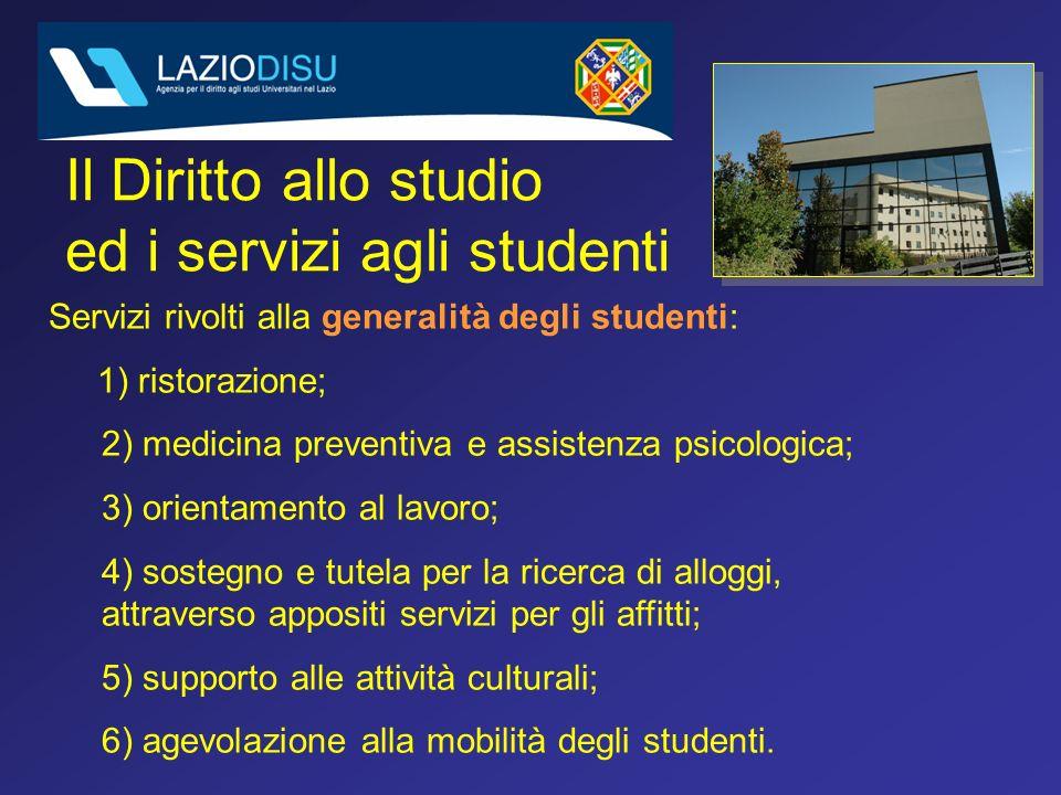 Attività culturali Agevolazione alla mobilità degli studenti Trasporti (in convenzione con Università) Internet point e rete wireless