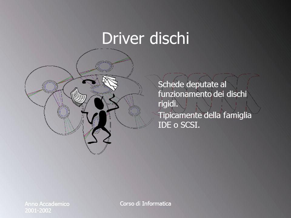 Anno Accademico 2001-2002 Corso di Informatica Driver dischi Schede deputate al funzionamento dei dischi rigidi.